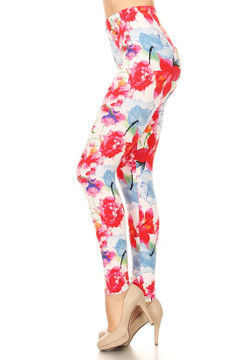 Brushed Floral Color Burst Leggings