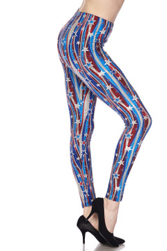 Brushed Metallic USA Flag Plus Size Leggings - 3X-5X