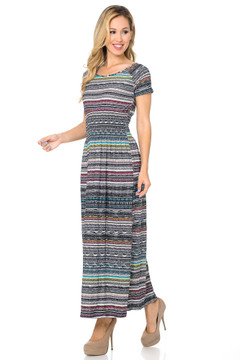 Soft Brushed Short Sleeve Evermore Tribal Maxi Dress
