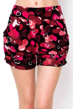 Soft Brushed Artistic Medley of Hearts Harem Shorts