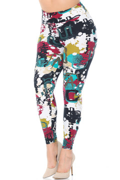 129c9359b349b4 Buttery Soft Summer Picasso High Waisted Plus Size Leggings