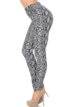 Soft Brushed Python Snakeskin High Waisted Plus Size Leggings