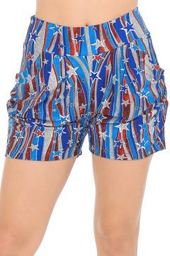 Soft Brushed Metallic USA Flag Harem Shorts