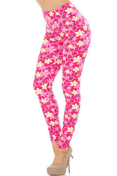 Soft Brushed Pink Daisy Plus Size Leggings