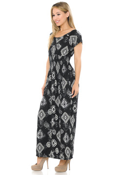 Soft Brushed Short Sleeve Regalia Tribal Maxi Dress