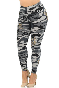 Soft Brushed Charcoal Skull Camouflage Extra Plus Size Leggings - 3X-5X