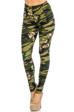 Soft Brushed Green Skull Camouflage Extra Plus Size Leggings - 3X-5X