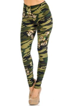 Soft Brushed Green Skull Camouflage Extra Plus Size Leggings - 3X-5X