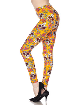 Soft Brushed Mustard Summer Sugar Skull Plus Size Leggings