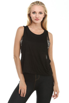 Double Layered Lace Insert Tank Top