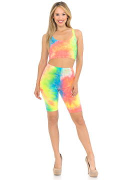 2 Piece Summer Shorts and Bra Top Set - Neon
