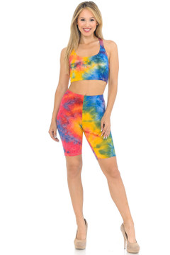 2 Piece Summer Shorts and Bra Top Set - Multi Color
