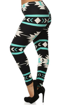 Soft Brushed Mint on Black Azteca Tribal Extra Plus Size Leggings - 3X-5X
