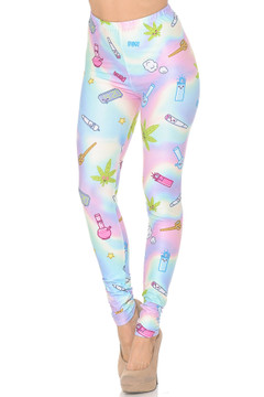 Creamy Soft Marijuana Life Extra Small Leggings - USA Fashion™