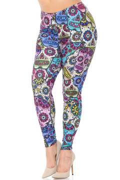 Creamy Soft Sugar Skull Extra Plus Size Leggings - 3X-5X