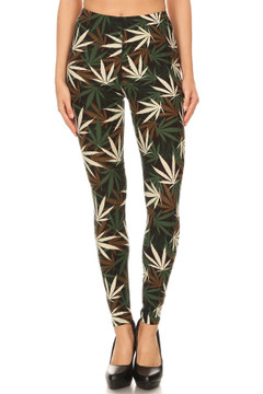 Buttery Soft Earthen Marijuana Extra Plus Size Leggings - 3X-5X