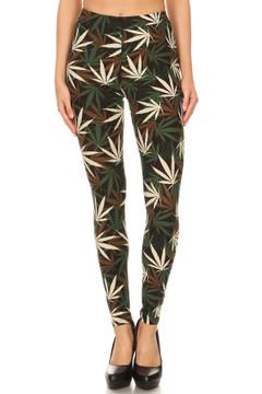 Buttery Soft Earthen Marijuana Extra Plus Size Leggings - 3X-5X