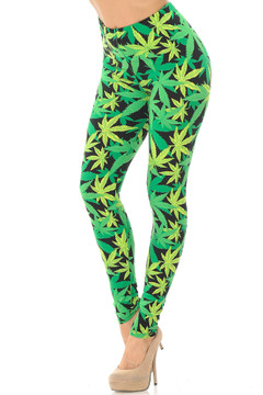 Brushed Cannabis Marijuana Leggings - EEVEE