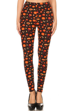 Brushed Pumpkins Cauldrons and Candles Halloween Extra Plus Size Leggings - 3X-5X