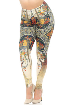 Creamy Soft Gaia Mucha Extra Plus Size Leggings - 3X-5X - USA Fashion™