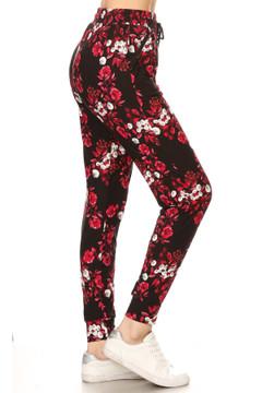 Brushed Crimson Floral Joggers