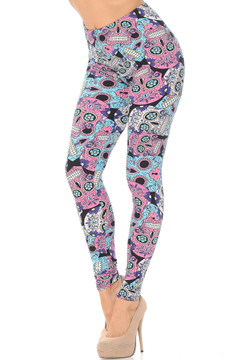 Brushed Pastel Sugar Skull Leggings