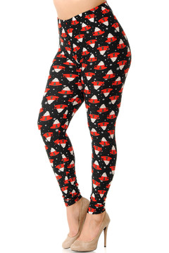 Brushed Mocha Cappuccino Christmas Coffee Extra Plus Size Leggings - 3X-5X