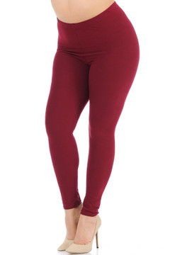 Brushed Basic Solid Plus Size Leggings - New Mix
