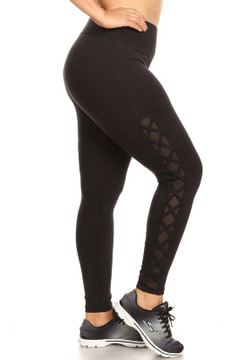 Side Crisscross Mesh Sport Plus Size Leggings