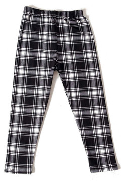 Brushed Monochrome Tartan Plaid Kids Leggings