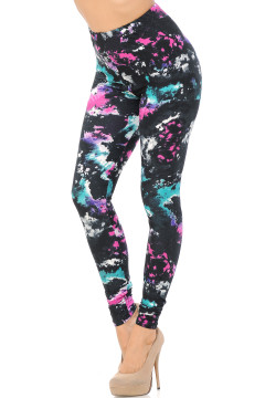 Brushed Aurora Borealis Extra Plus Size Leggings - 3X-5X