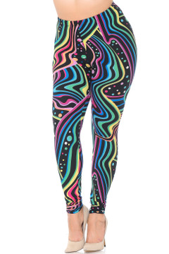 Brushed Rainbow Bash Extra Plus Size Leggings - 3X-5X