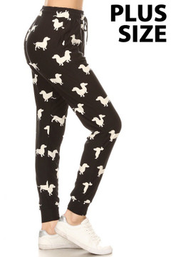 Buttery Cute Dachshund Wiener Dog Plus Size Joggers