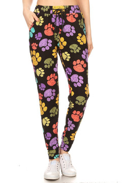 Brushed  Colorful Paw Print Joggers