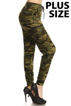 Brushed  Camouflage Plus Size Joggers