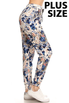 Brushed  Picasso Floral Plus Size Joggers