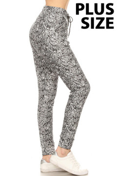 Brushed  Snakeskin Plus Size Joggers