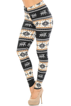 Brushed  Caramel Holiday Reindeer Plus Size Leggings