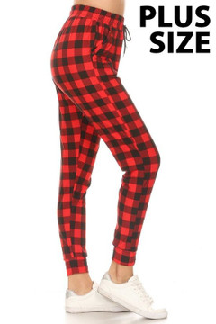 Brushed Tartan Plaid Plus Size Joggers