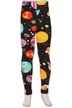 Brushed Planets in Space Kids Leggings