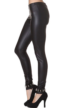 Faux Leather Ankle Spike Leggings