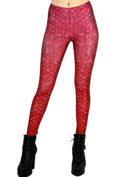 Red Ombre Scale Leggings - Plus Size