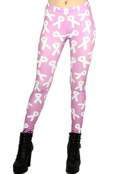White Awareness Ribbon Leggings - Plus Size