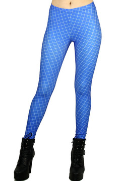 Blue Crisscross Leggings - Plus Size