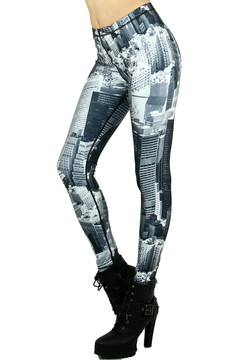 Black and White City Leggings