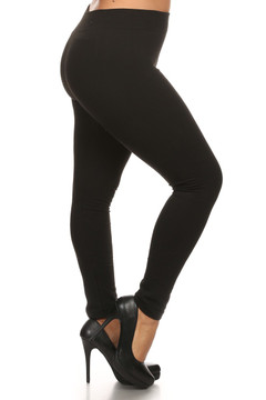 Black French Terry Leggings - Plus Size