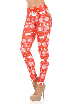 Red Sleigh Ride Holiday Leggings