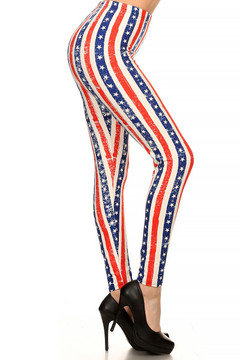 Vertical Stars and Stripes Leggings - Plus Size