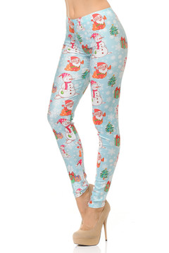 Frosty Santa Christmas Leggings