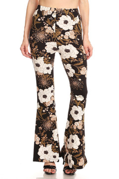 Front image of Floral Majesty Bell Bottom Leggings